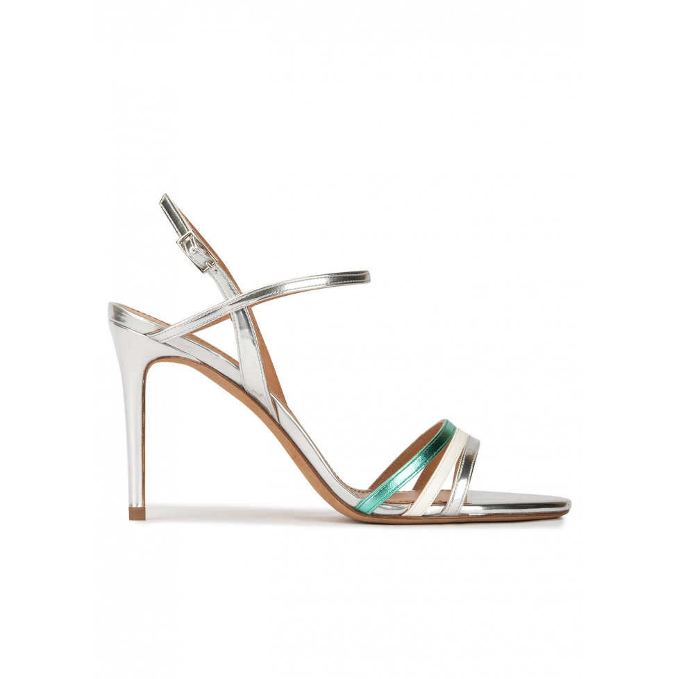Multcolored high stiletto heel sandals in metallic leather