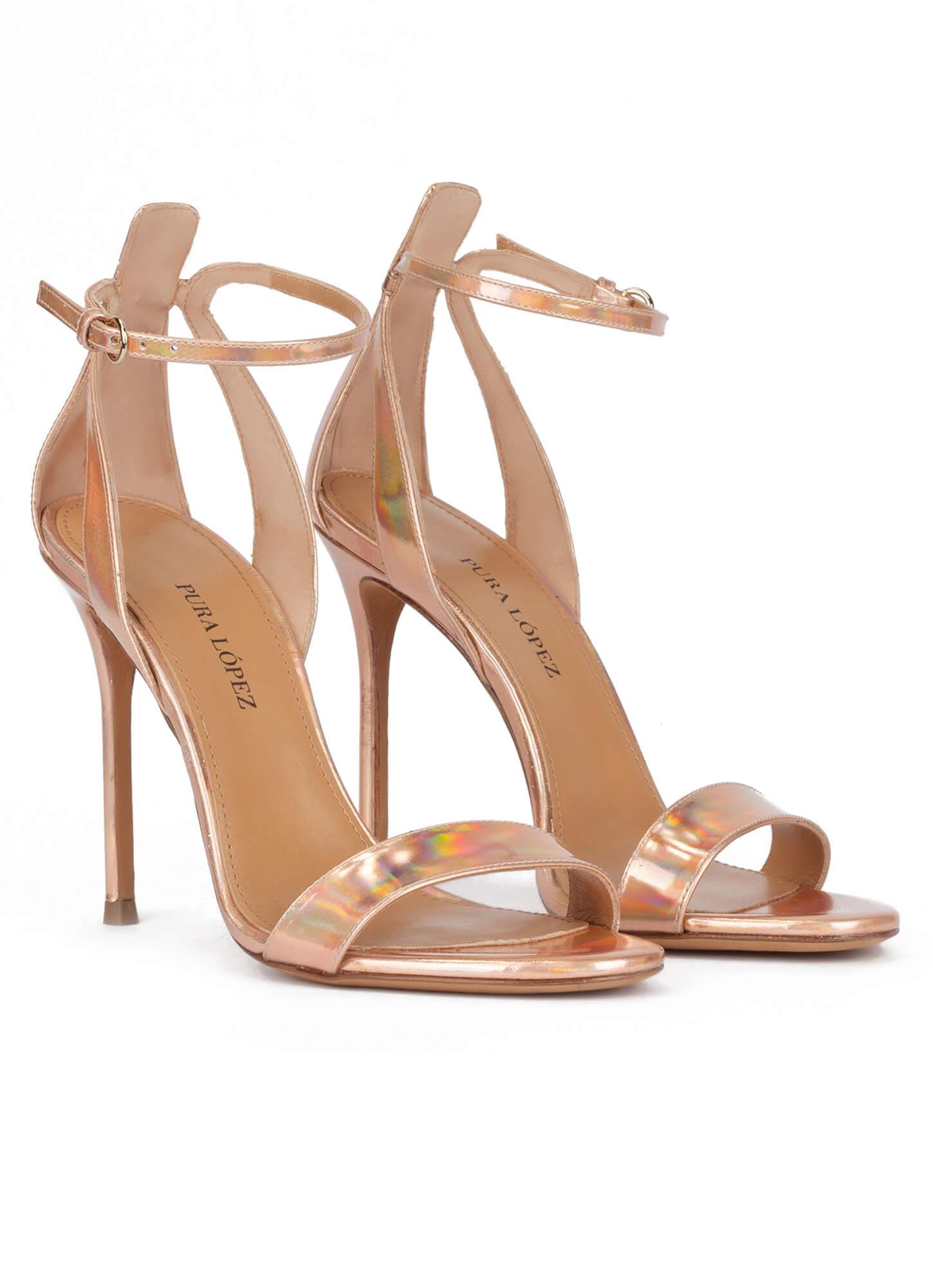 751c3c7a0f Martina Pura López. Party high heel sandals in nude metallic leather Party high  heel sandals in nude metallic leather ...