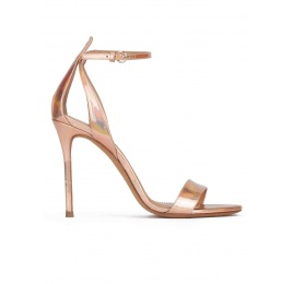 Party high heel sandals in nude metallic leather Pura López
