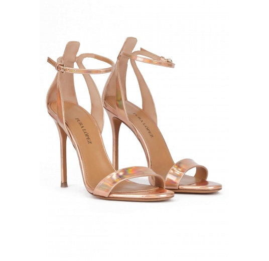Party high heel sandals in nude metallic leather Pura L�pez