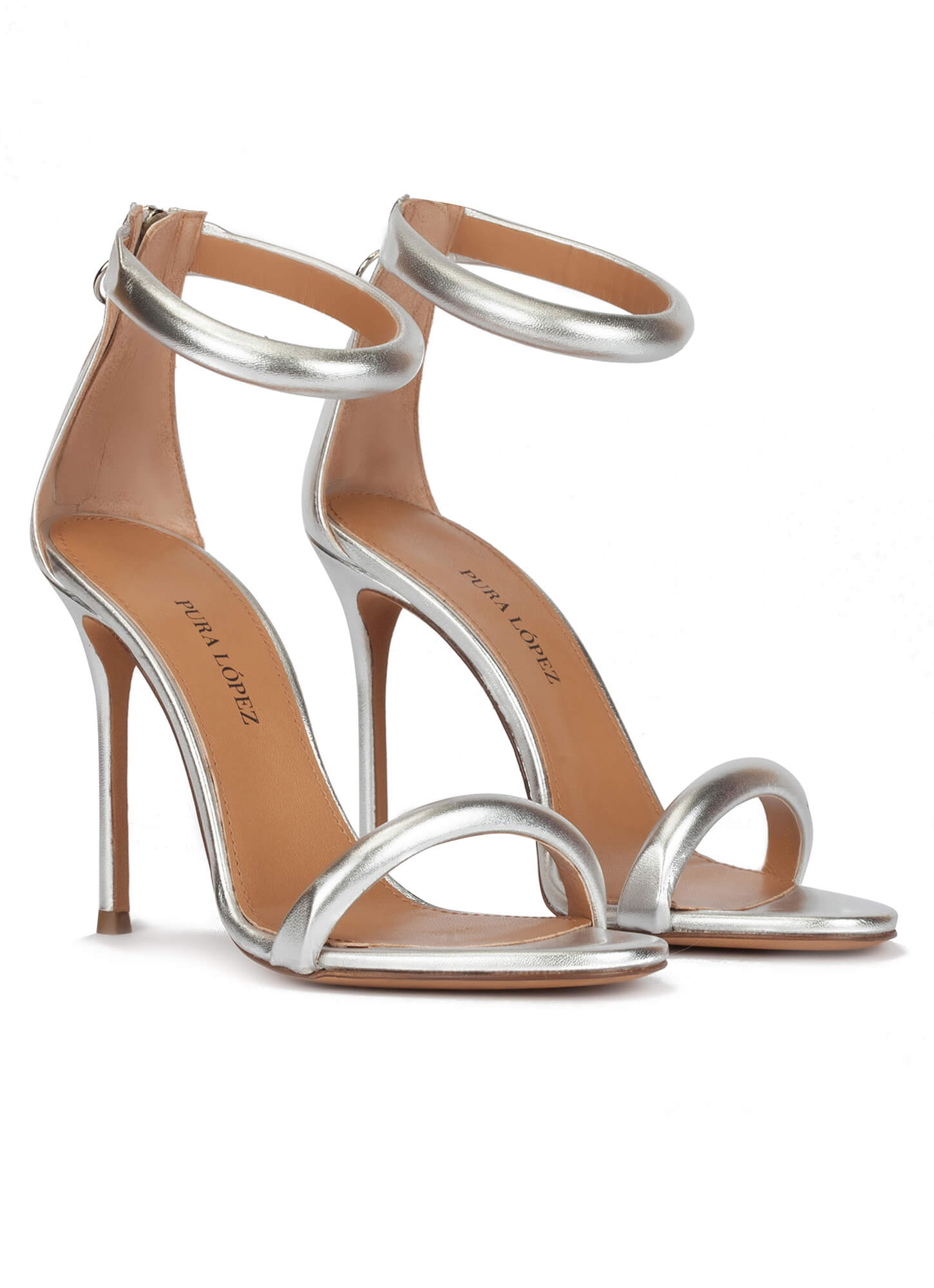 23597b5c46 Orly Pura López. Silver party high heel sandals in metallic leather Silver  party high heel sandals in metallic leather ...