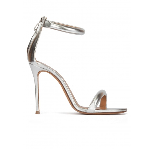 Silver party high heel sandals in metallic leather Pura L�pez