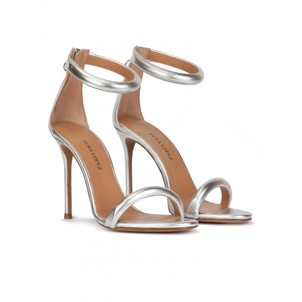 Silver party high heel sandals in metallic leather