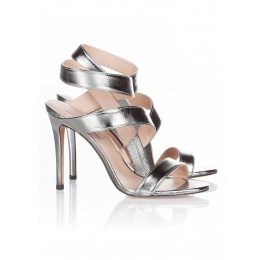 High heel sandals in steel metallic leather Pura López