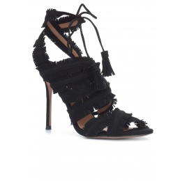 Fringed high heel sandals in black suede Pura López