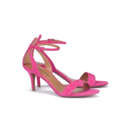 Fuchsia suede ankle strap mid heel sandals Pura López