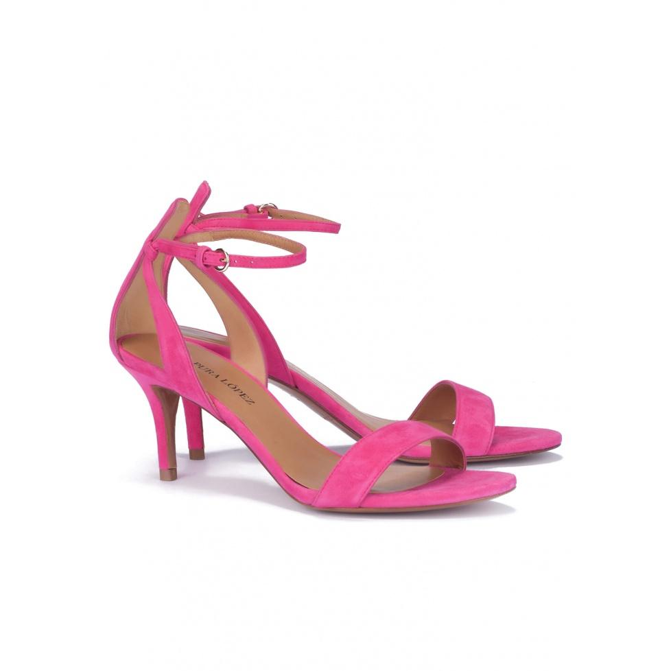 Mid heel sandals in fuchsia suede - online shoe store Pura Lopez