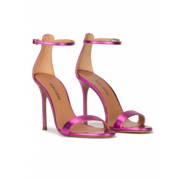 Fuchsia heeled sandals in metallic leather Pura López
