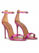 Fuchsia heeled sandals in metallic leather