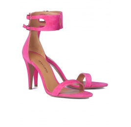 Ankle strap heeled sandals in fuxia suede Pura López