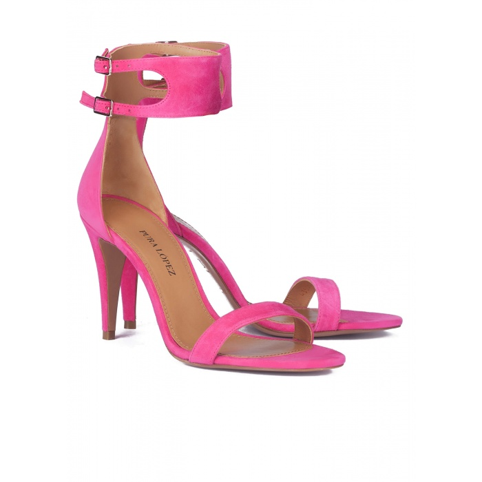 High heel sandals in fuxia suede - online shoe store Pura Lopez