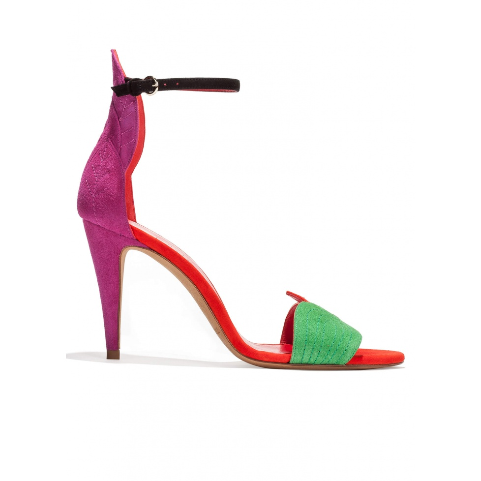 Ankle strap high heel sandals in multicolored suede