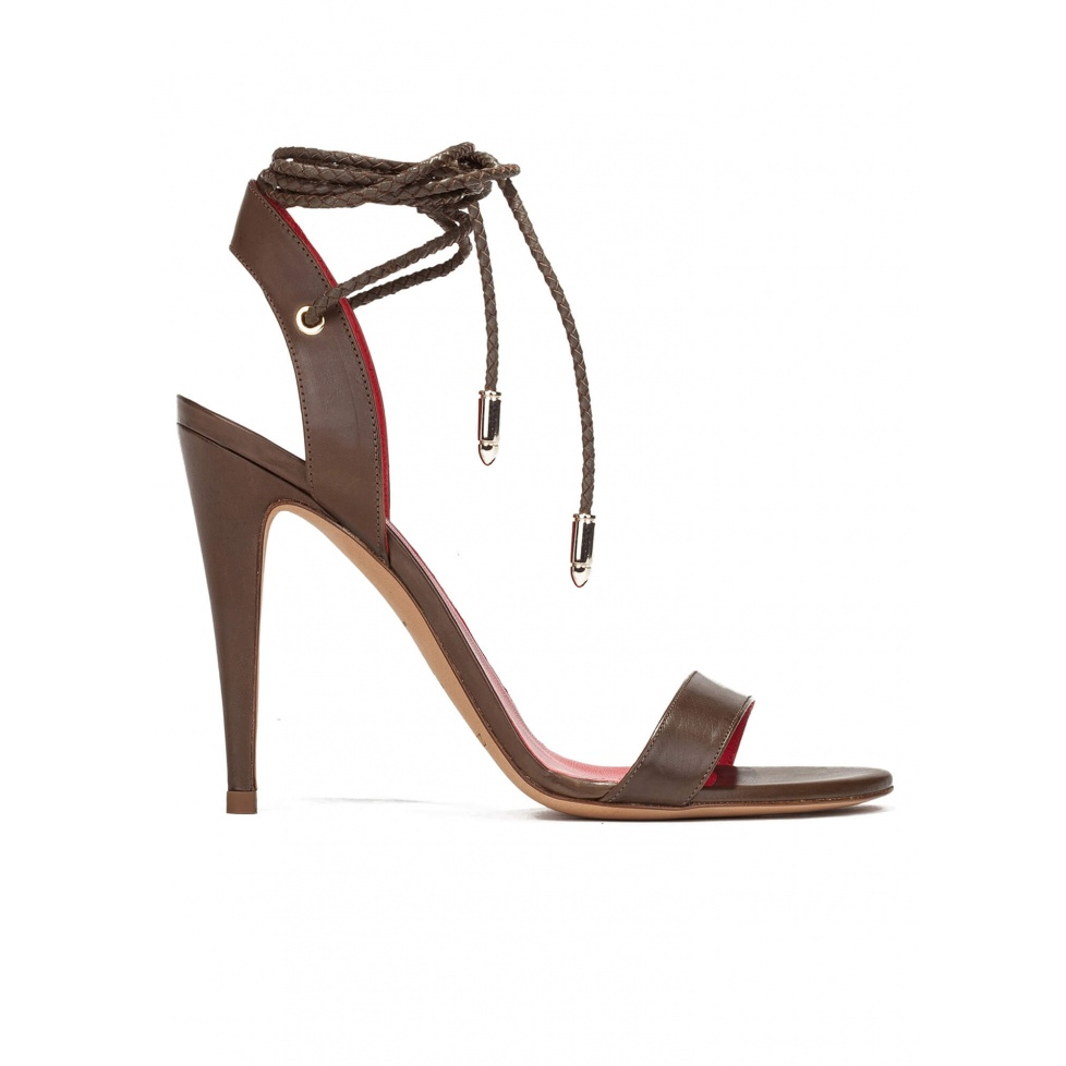 Lace-up high heel sandals in kaki leather