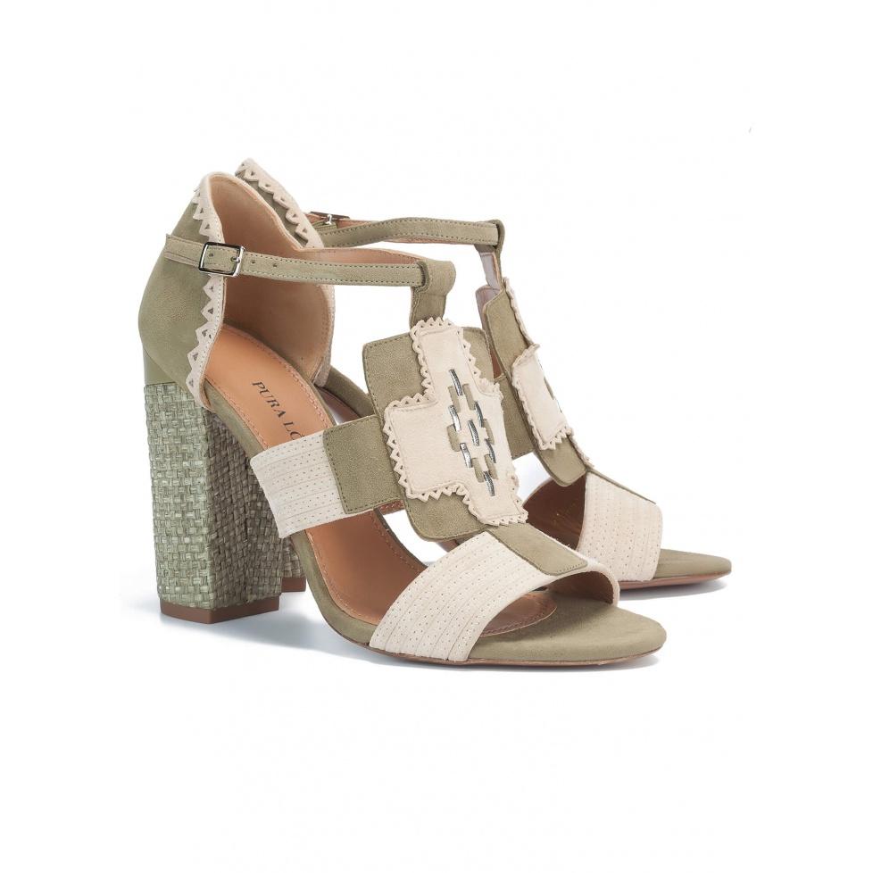 Kaki high block heel sandals - online shoe store Pura Lopez