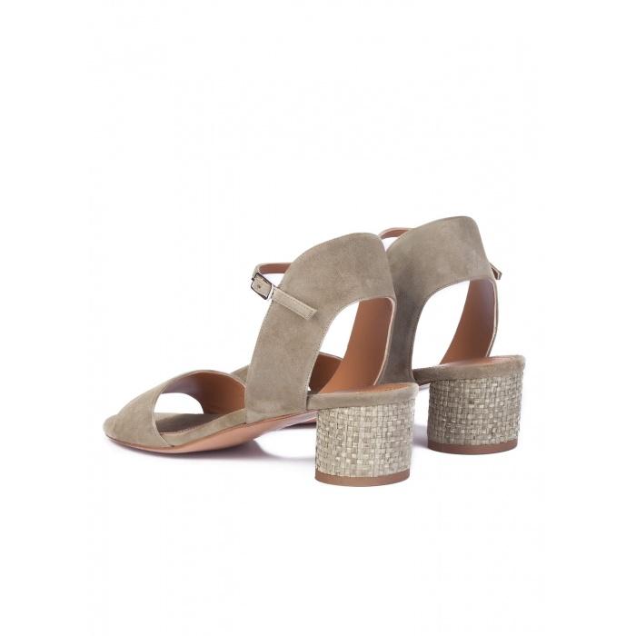 mid heel sandals in kaki suede online shoe store pura lopez pura lopez. Black Bedroom Furniture Sets. Home Design Ideas