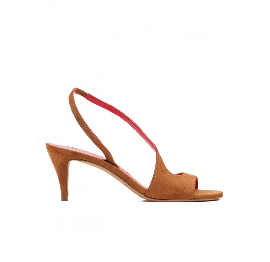 Strappy mid heel sandals in chestnut suede Pura L�pez