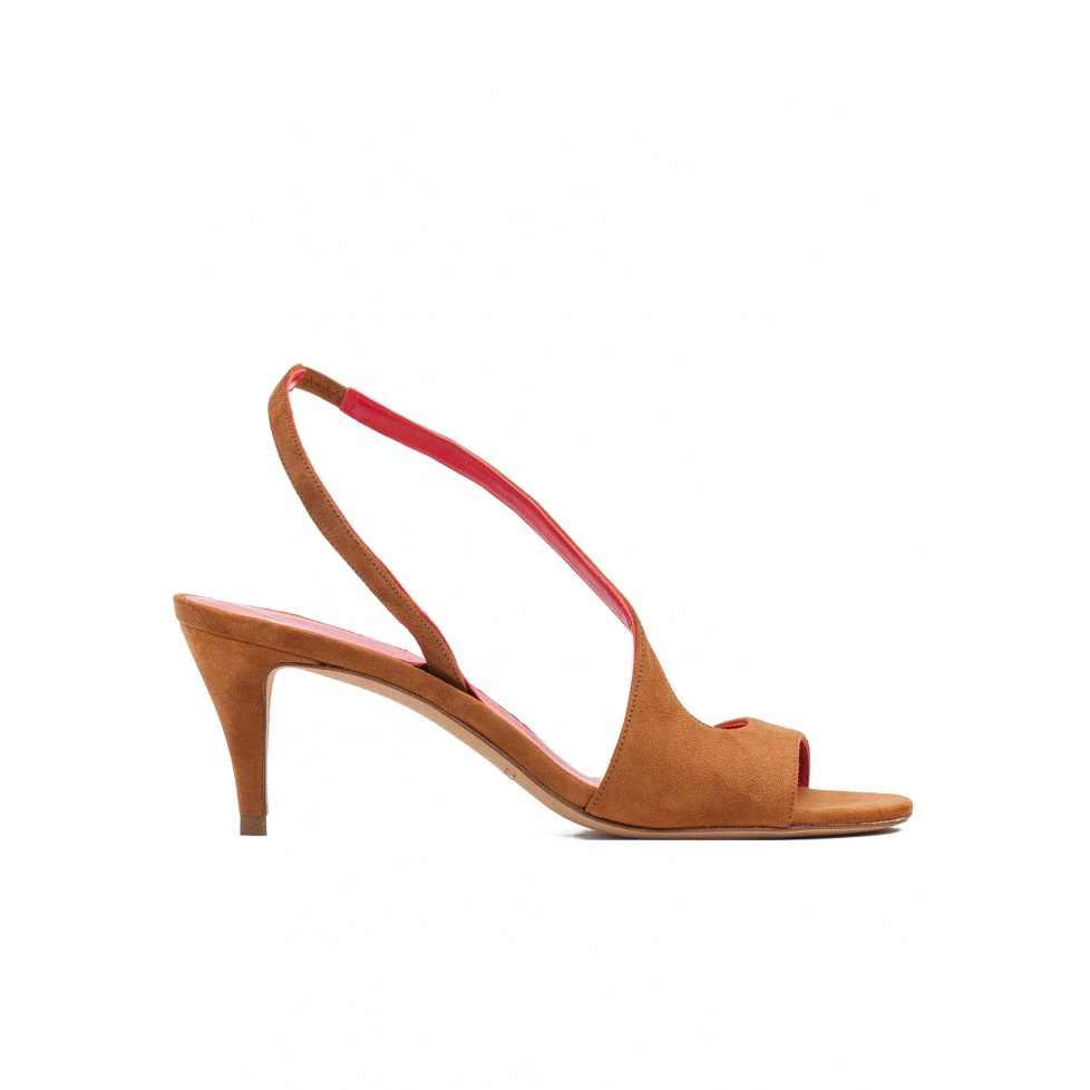 Strappy mid heel sandals in chestnut suede