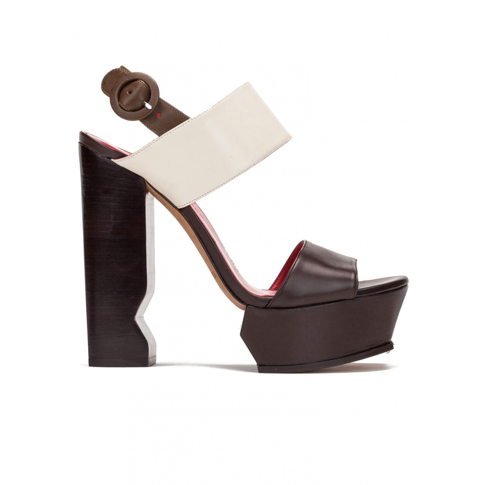 High block heel sandals in brown and cream leather