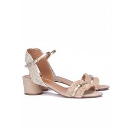 Sandalias de tacón ancho en tonos neutros Pura López