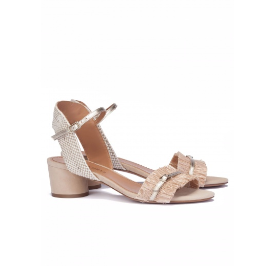 Mid block heel sandals in neutral hues Pura L�pez