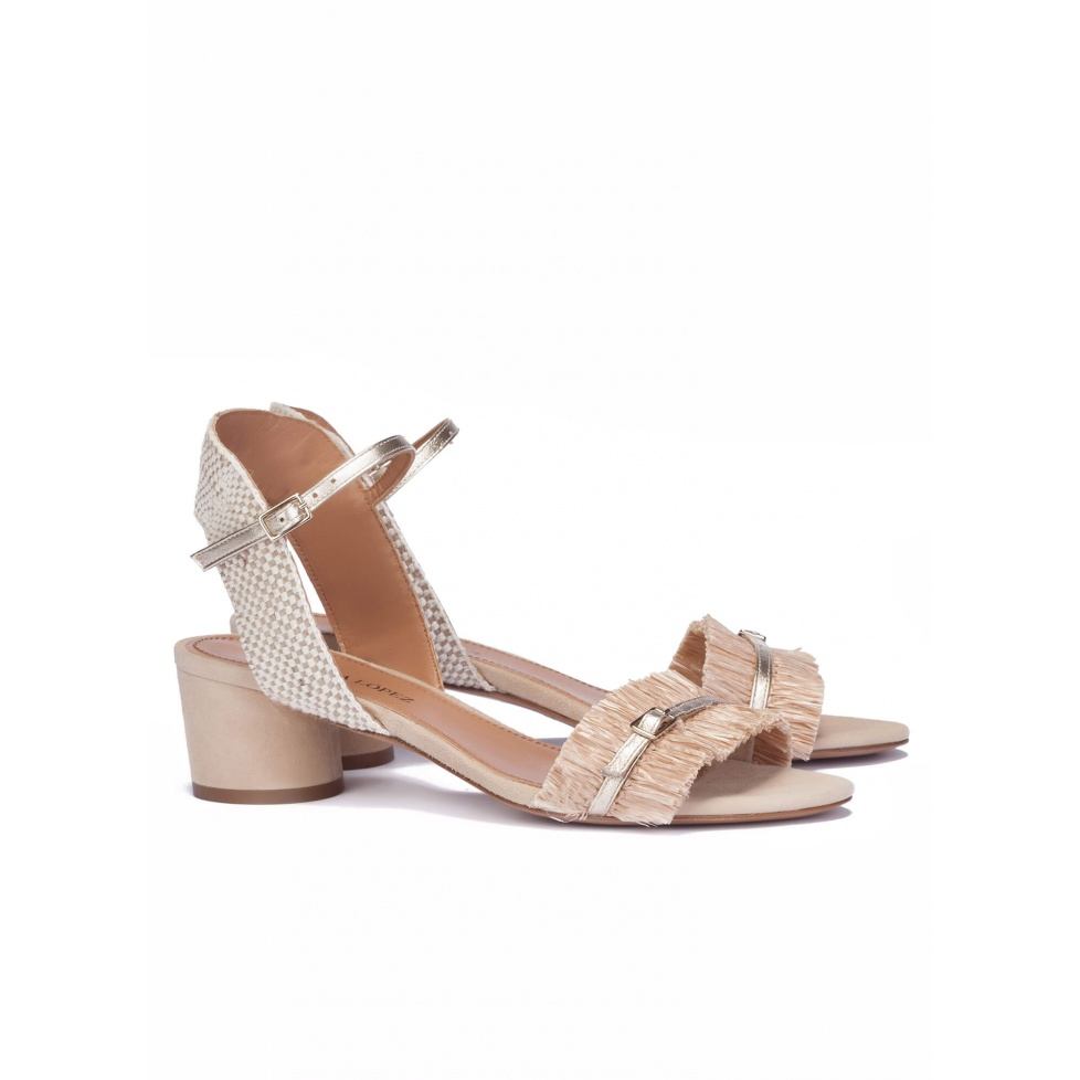 Mid heel sandals in neutral hues - online shoe store Pura Lopez
