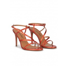 High stiletto heel sandals in coral metallic leather Pura López