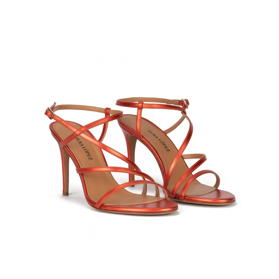 High stiletto heel sandals in coral metallic leather
