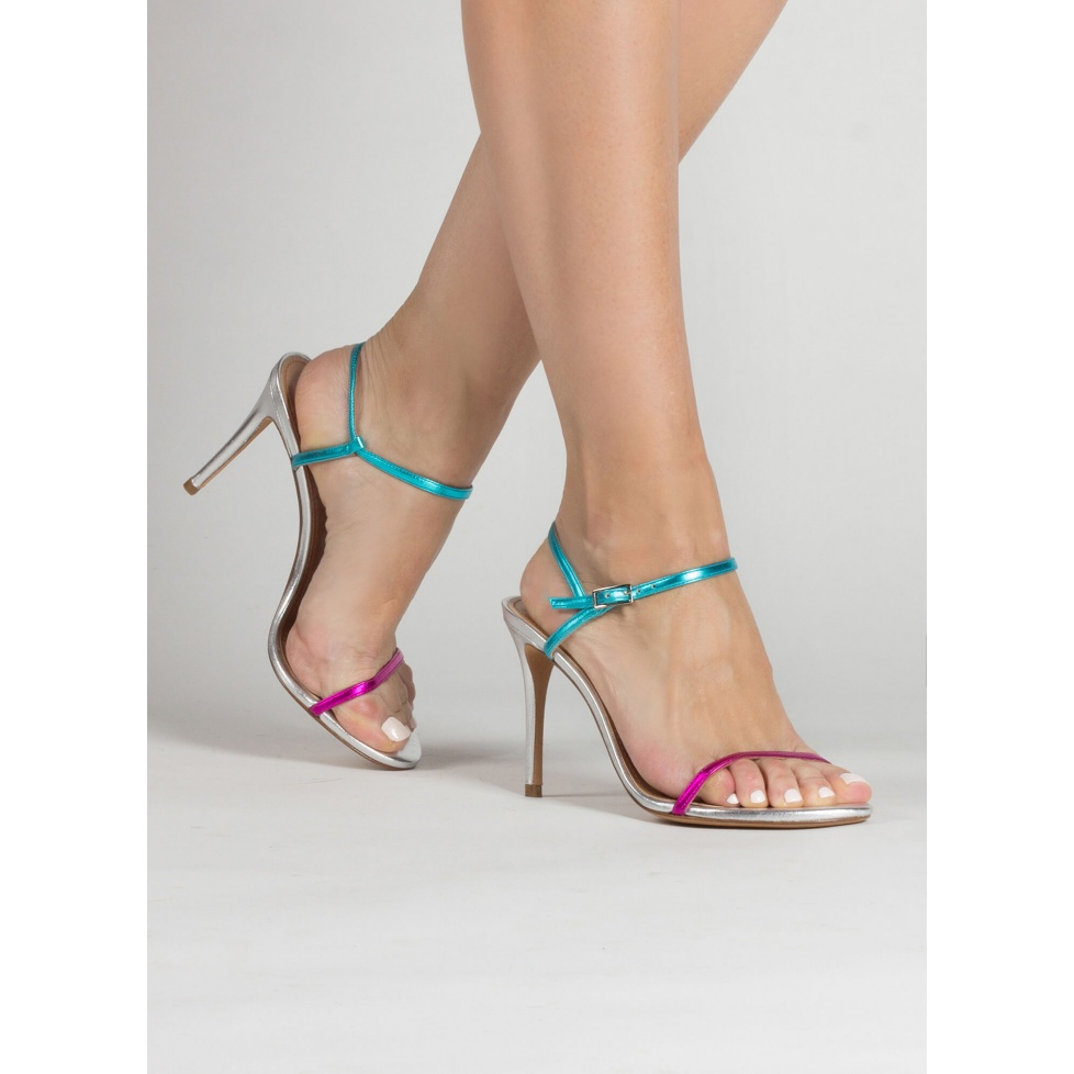 Mutlicolored high heel sandals with metallic leather straps