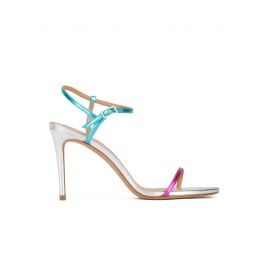 Mutlicolored high heel sandals with metallic leather straps Pura López