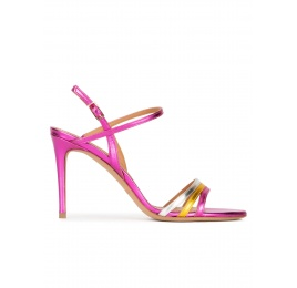 Strappy high-heeled sandals in multicolored metallic leather Pura López