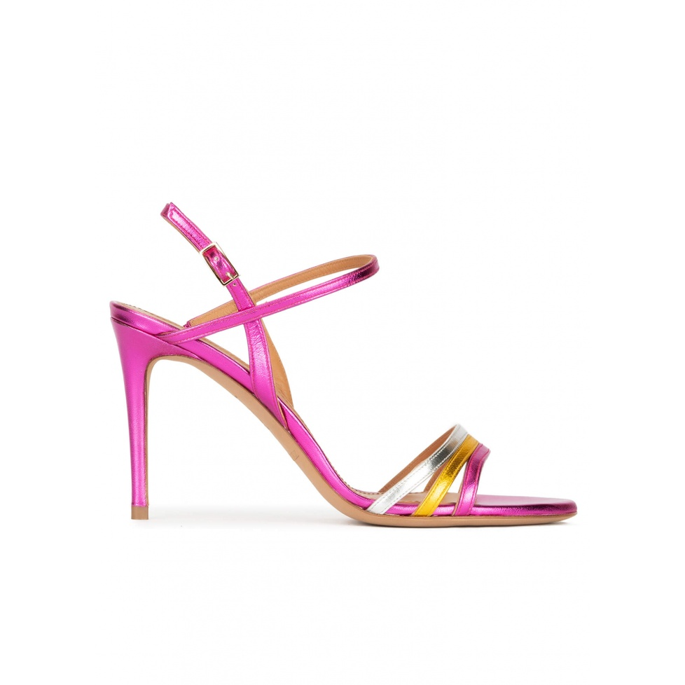 Strappy high-heeled sandals in multicolored metallic leather