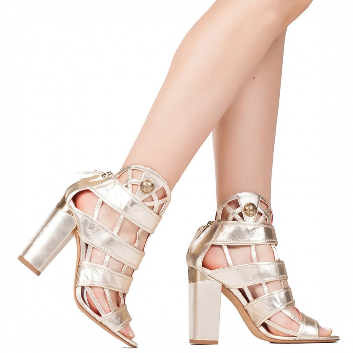 Block heel cage sandals in metallic leather - shoe store Pura Lopez