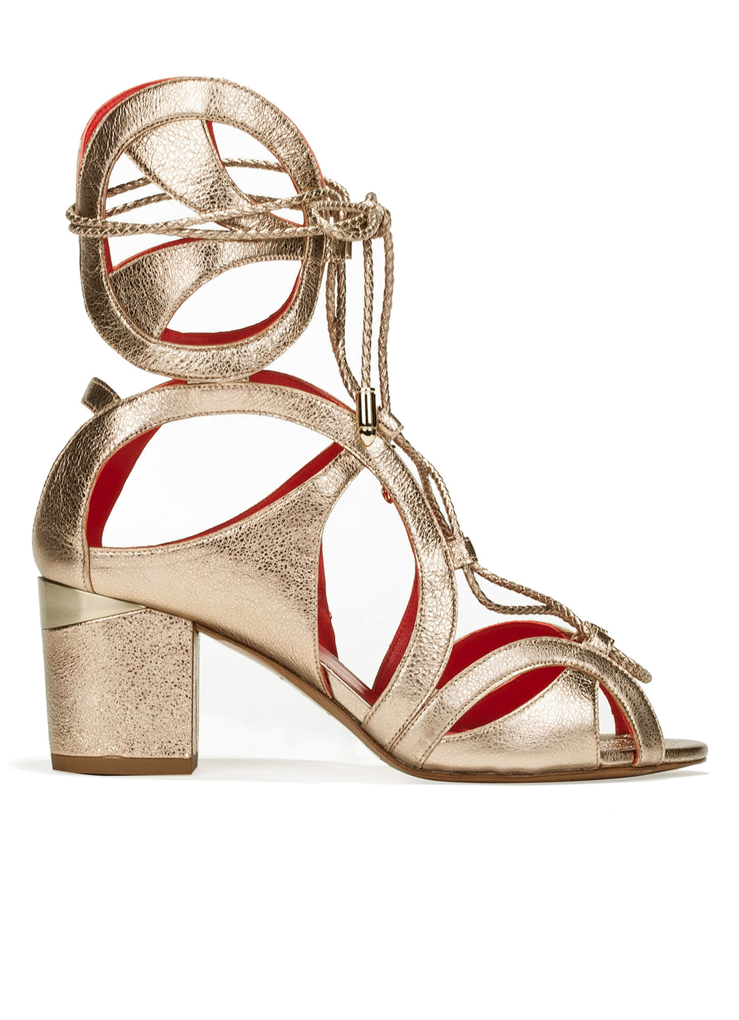 3af278e0fe5 Cutout sandals in metallic leather - shoe store Pura López . PURA LOPEZ