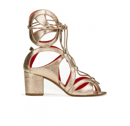 Lace-up mid block heel sandals in champagne metallic leather Pura López