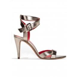 Strappy high heel sandals in platin metallic leather Pura López