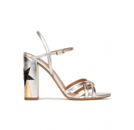 Star detailed high block heel sandals in metallic leather Pura López