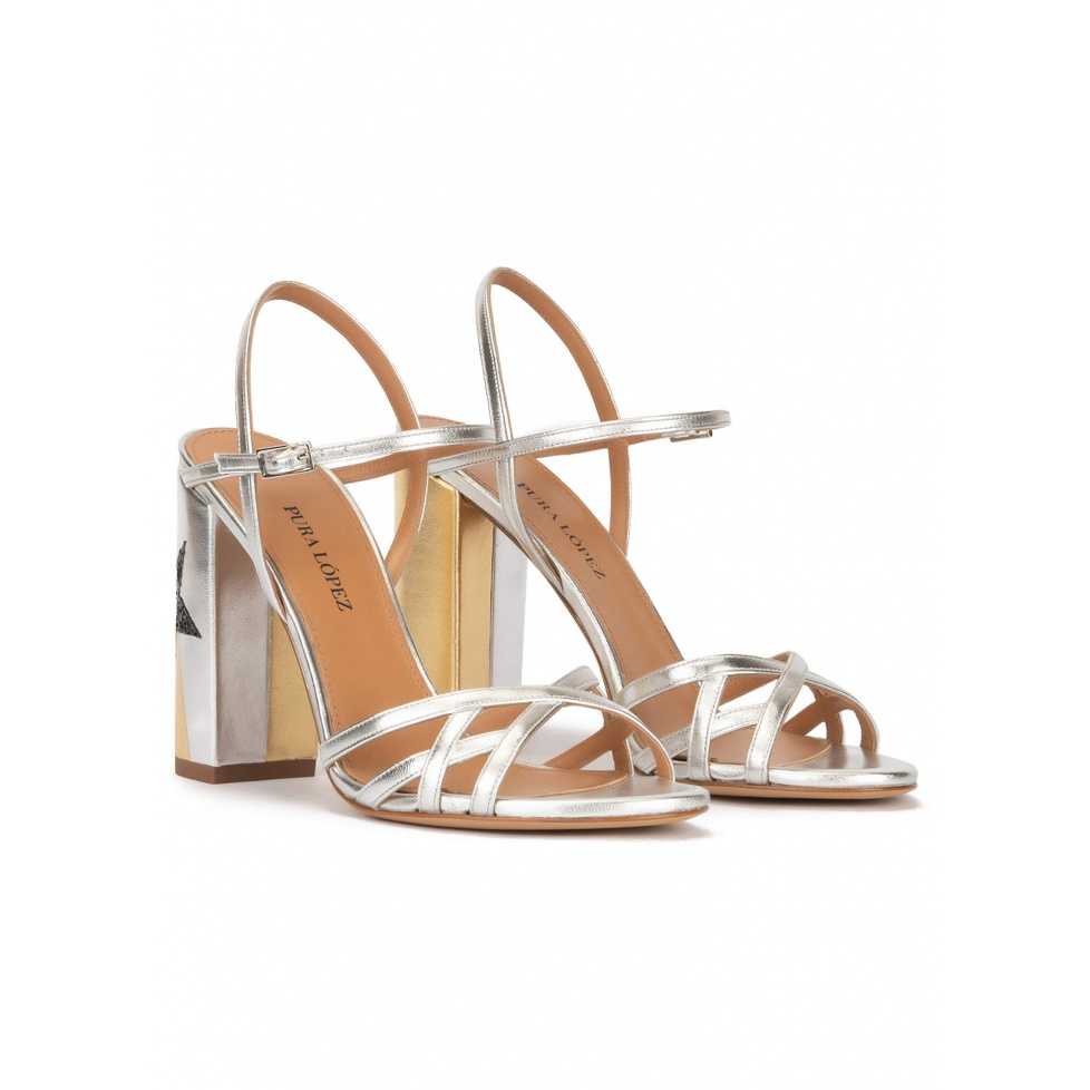 Star detailed high block heel sandals in metallic leather