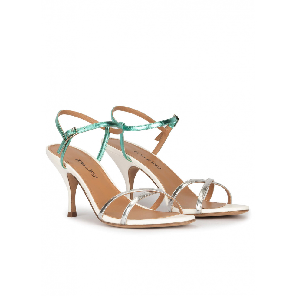 Silver leather strappy mid heel sandals