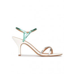 Silver leather strappy mid heel sandals Pura López