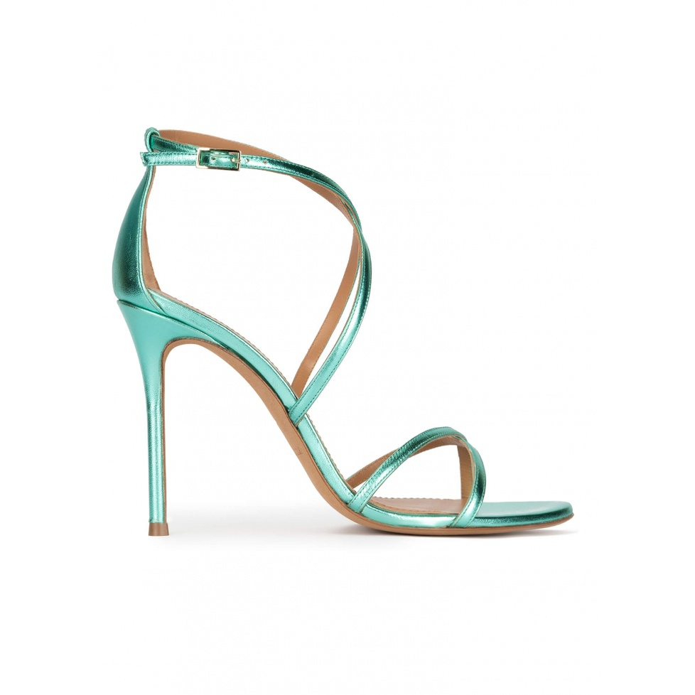 Strappy high-heeled sandals in aquamarine metal leather
