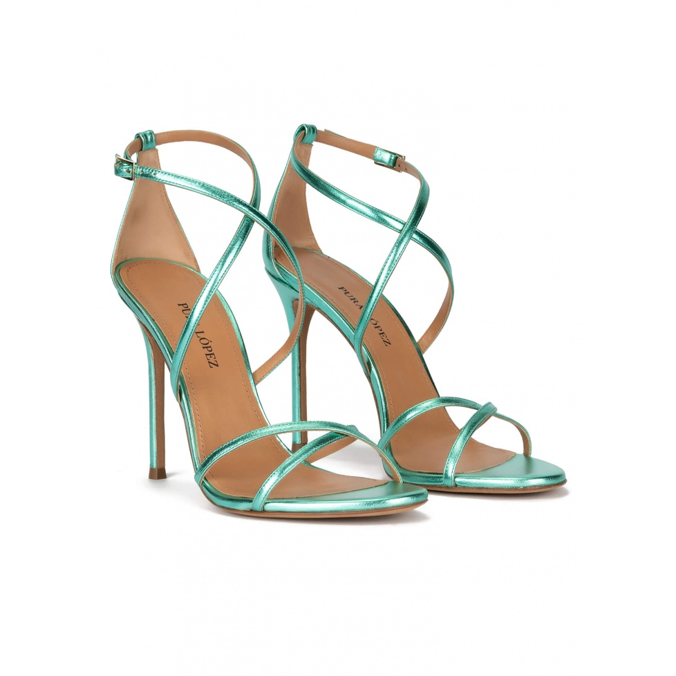 Strappy high-heeled sandals in aquamarine leather