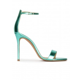 Aquamarine heeled sandals in metallic leather Pura López