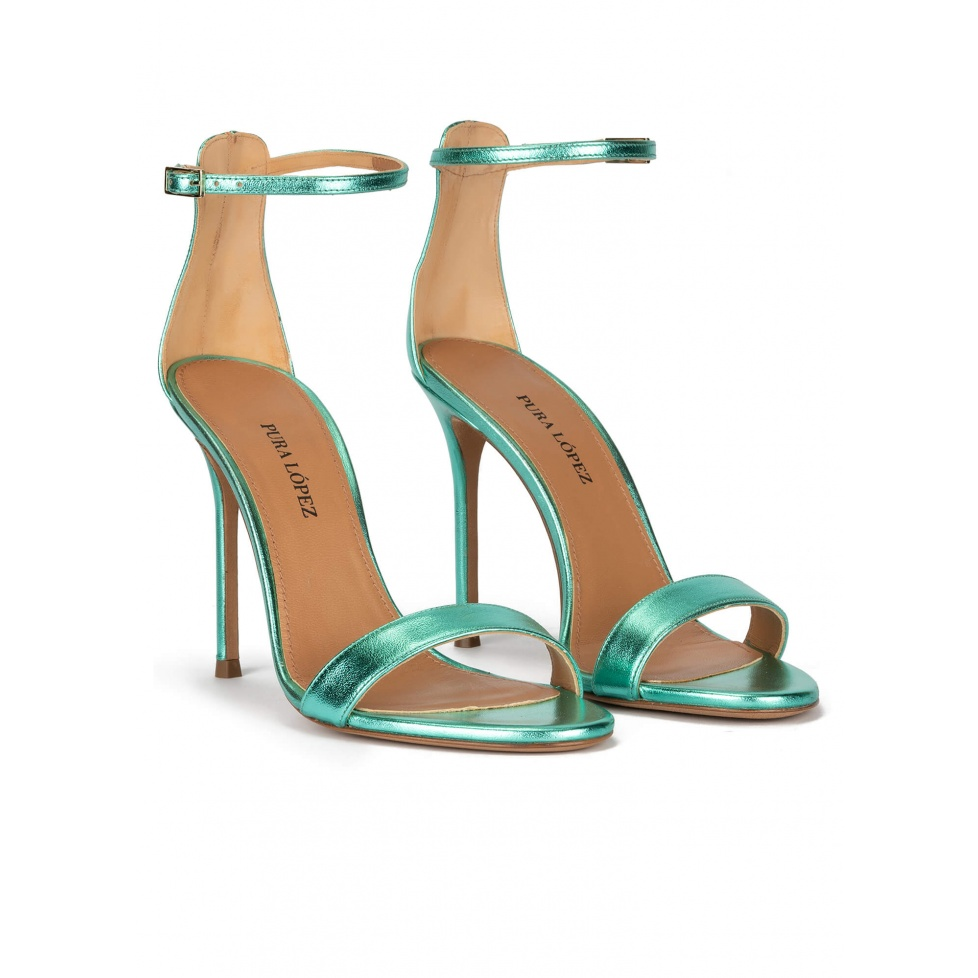 Aquamarine heeled sandals in metallic leather