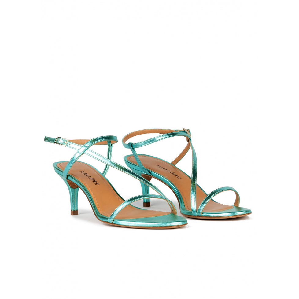 Strappy mid heel sandals in aquamarine metallic leather
