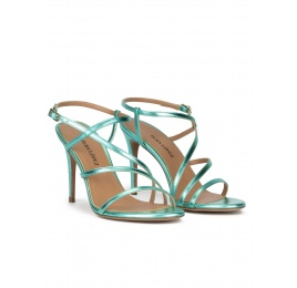 Aquamarine high heel sandals with metallic leather straps Pura López
