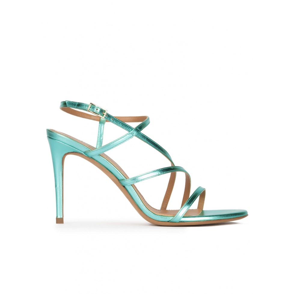 Aquamarine high heel sandals with metallic leather straps