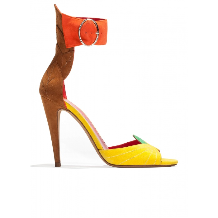 Ankle strap high heel sandals in multicolored suede with leaf detailed heel