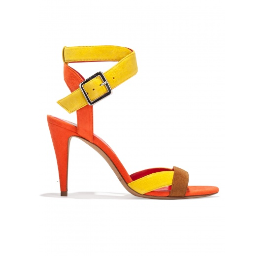 Strappy high heel sandals in multicolored suede Pura L�pez