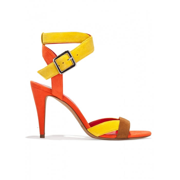 Strappy high heel sandals in multicolored suede