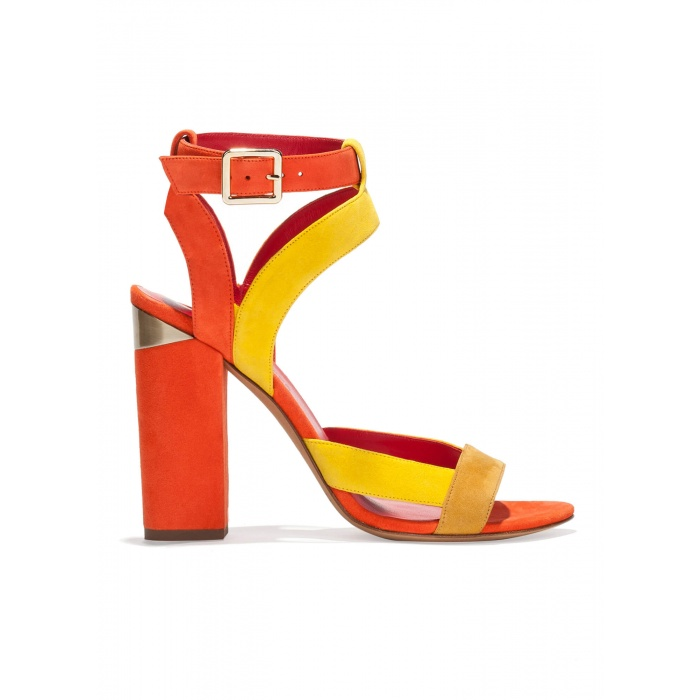 Strappy high chunky heel sandals in multicolored suede